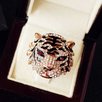Vintage Exaggerated Punk Rock Tiger Head Ring Big Animal King Of Forest Cool Party Decorate Cocktail