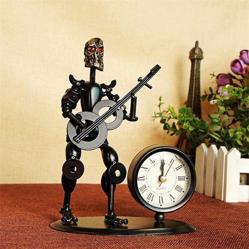מודרני מכשיר שולחן שעון תלמיד גיטרה מתנה ברזל איש דגם בית דקור קוורץ מעורר שעון שולחן מתכת קרפט despertador saat