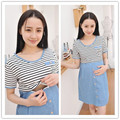 Summer Fashion Woman breastfeeding clothes striped women nursing dress short sleeve women pregnant clothes gravida dresses F437