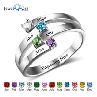 Friendship Family Ring Engrave 4 Names DIY Custom Birthstone 925 Sterling Silver Gift For Mothers Rings