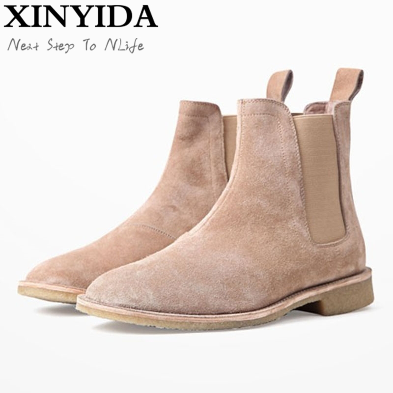 Luxury Brand Vintage Genuine Leather Men Boots Chelsea Kanye West Boots Fashion Sexy Platform Botas Mens Martin Shoes Plus Size акриловые обои hits wallcoverings vintage luxury sz001534