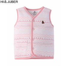 ФОТО children's clothing original single2018 new child vest girls middle buckle cardigan thickened vest on both sides