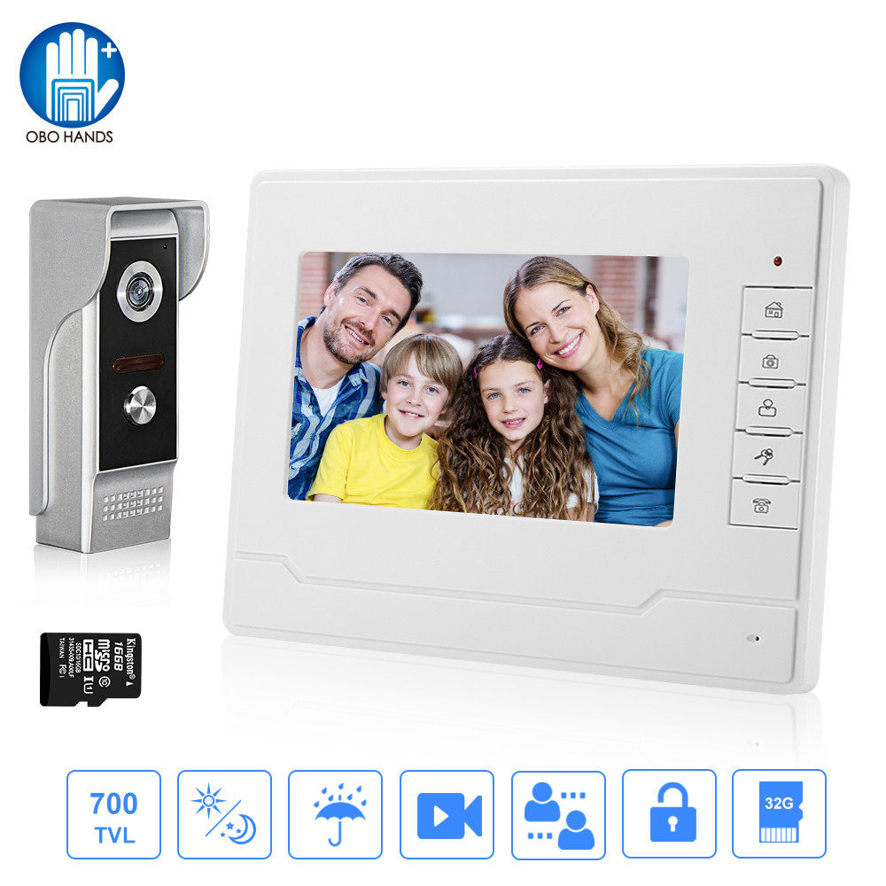 Video Door Phone 7'' Video Intercom System Kit For Home +Waterproof Outdoor Camera+16G TF Card Video Recording Photos 2 Monitors