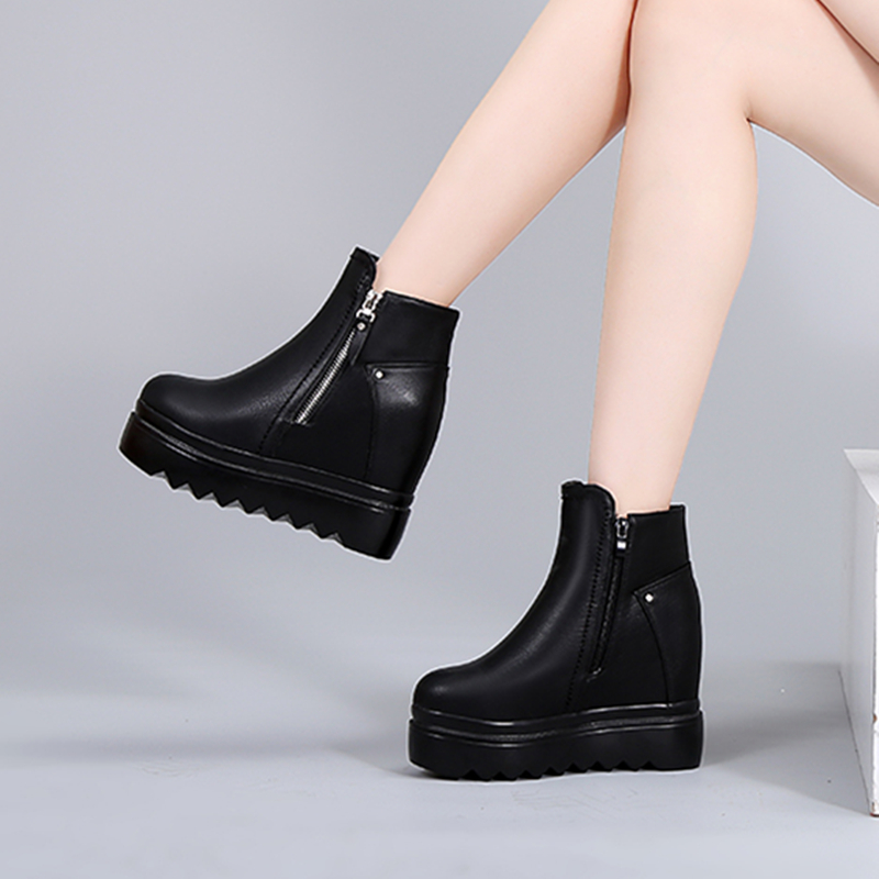 SWYIVY Shoes Woman Winter Warm Snow Boots Platform Leather 2018 Female Casual Shoes High Top Zipper Lady Fur Wedge Snow Boots  SWYIVY Shoes Woman Winter Warm Snow Boots Platform Leather 2018 Female Casual Shoes High Top Zipper Lady Fur Wedge Snow Boots