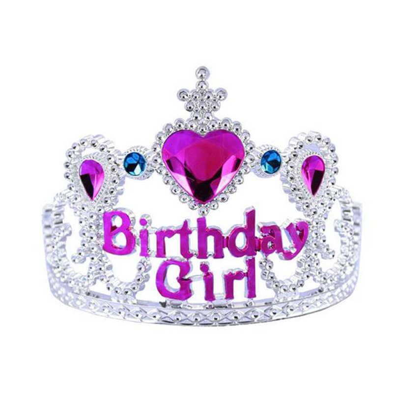Cute Girls Princess Rhinestone Happy Birthday Crowns Tiaras Kids Plastic  Headband Hairband With Comb Children Hair a97a62b33774