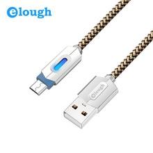 Elough новый LED Micro USB кабель для Samsung Xiaomi Android мобильный телефон для быстрой зарядки 1 м 2 м цинковый сплав из металла кабель MicroUSB Провода