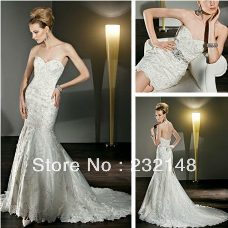 Turmec Strapless Low Cut Back Wedding Dresses