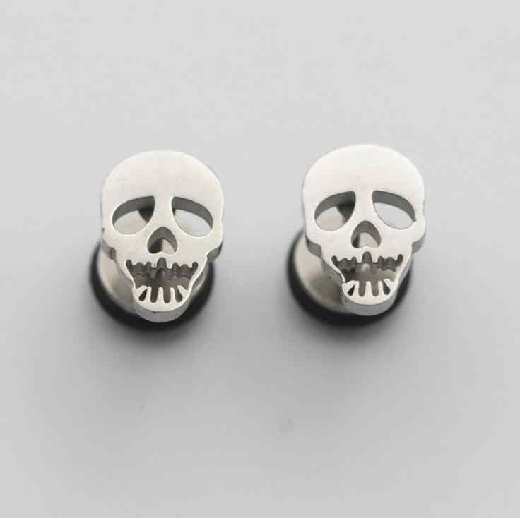 ต่างหูทองเงินแฟชั่นเครื่องประดับต่างหูหญิงแนวโน้มของขวัญ Dangler Eardrop Clasp หญิงหัวใจ Cranium skull