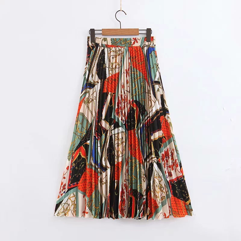 Klacwaya Women New Chain Pattern Skirts 2019 Summer Beach Ladies Chic Pleated Midi Skirts Boho Girls High Waist Skirt Jupe Femme