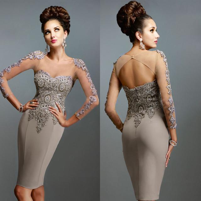 Vestido Mae Da Noiva larga escote ilusión de la manga apliques corto lf2739 madre de la novia viste Vestidos Madrina Boda XMD27