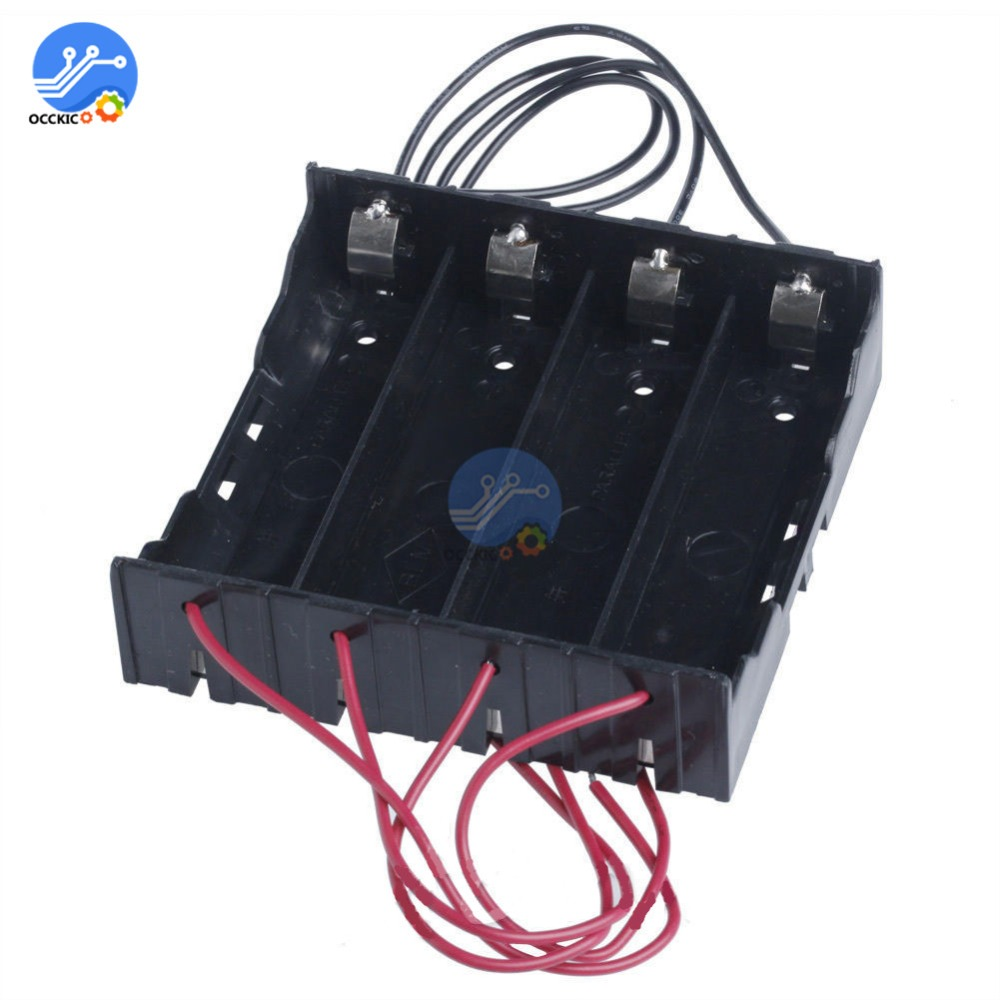 Black ABS 18650 Battery Storage Box Case 4 Slot Way 3.7V DIY Batteries Power Bank Clip Holder Container With Wire
