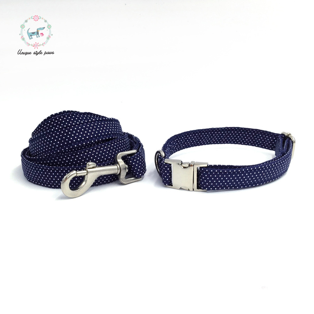 Blue Polka-Dot collar and leash set with bow tie. 1
