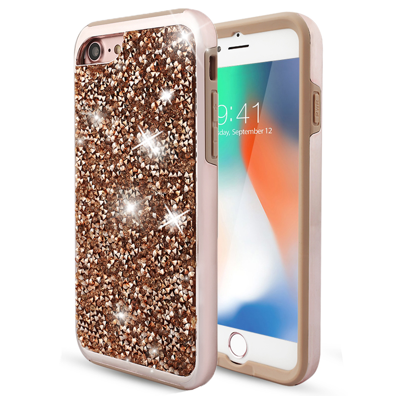 For Apple iPhone X 6 6S Plus 7 8 Plus Case Shockproof Luxury Diamond Glitter Bling Dual Layer Rubber Shine Phone Cases