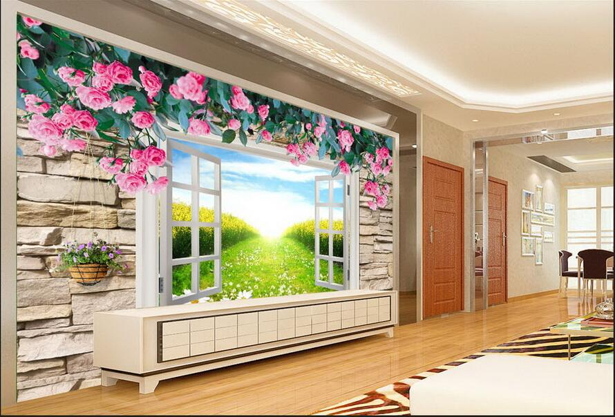 3d wallpaper custom photo non-woven mural picture wall sticker The window rose  painting 3d room murals wallpaper custom photo 3d wallpaper non woven mural wall sticker the big tree on the grass painting picture 3d wall room murals wallpaper