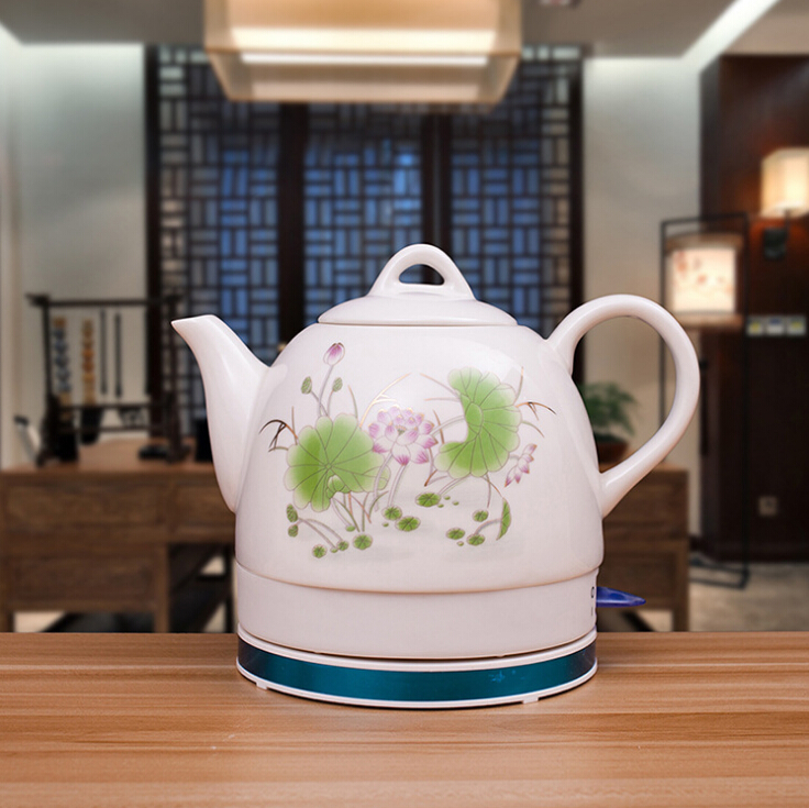 Electric kettle 1L heated green lotus ceramic electric kettle 304 stainless steel automatic power supply kettles