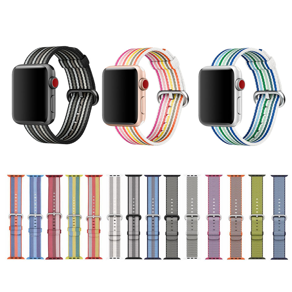 Correa de nylon de nueva llegada para Apple Watch Band Banda de nylon con adaptador incorporado, para iWatch Nylon Band 42MM / 38MM Series 3/2/1