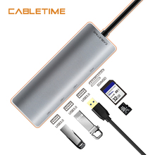 Cabletime USB Type C HUB to USB 3.0  SD & Micro SD Card Reader 5 in 1 USB-C Hub 3 USB Ports For Laptop PC MacBook Pro N175