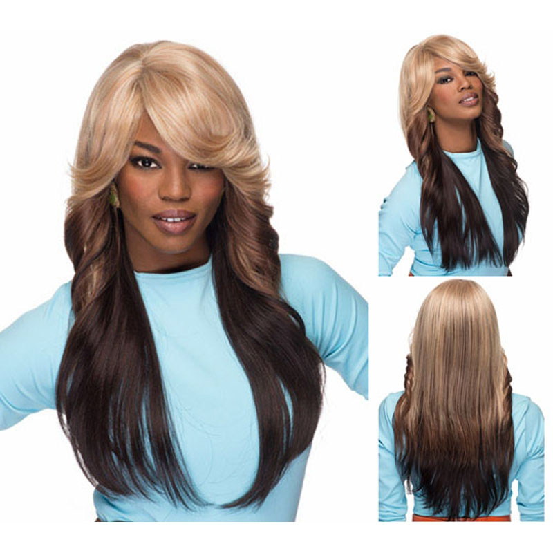 Two Tone Full Glueless Wig Long Layered Straight Haircuts Afro Wigs