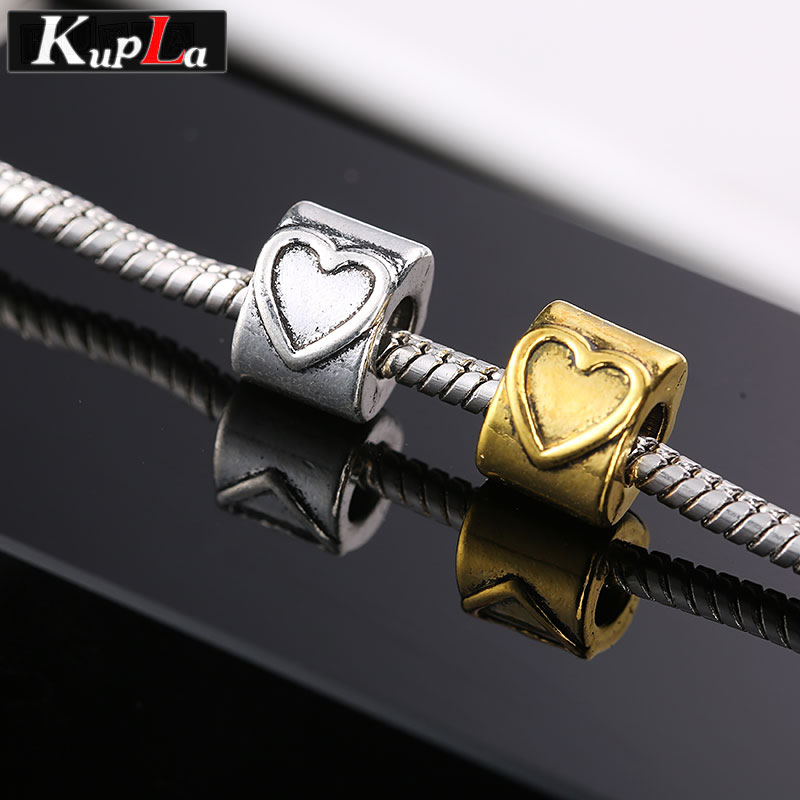 Vintage Hearts Beads fit Pandora Charms Bracelets European Beads Fashion Metal DIY Big Hole Spacer Beads for Jewelry Making
