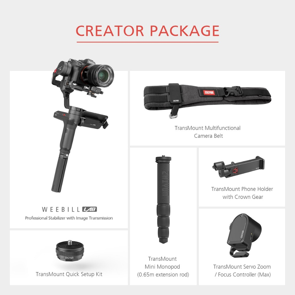 Zhiyun WEEBILL LAB 3-Axis OLED Display Stabilizer For Sony Panasonic GH5s Mirrorless Camera Handheld Gimbal With Focus Control 27