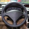 Черный кожаный прошитый вручную чехол рулевого колеса автомобиля для Peugeot 307 2001-2008 307 SW 2005-2008