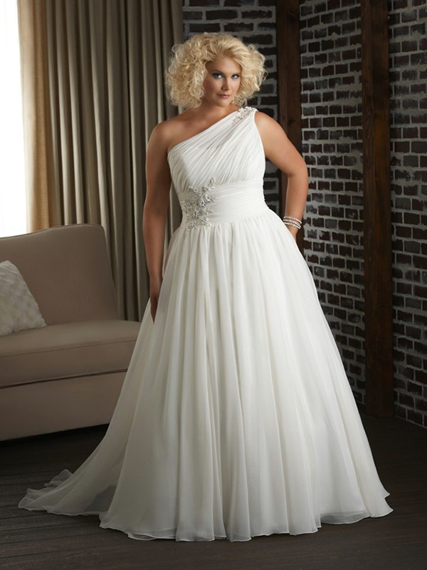 A Line Chiffon Beach Plus Size Wedding Dresses One Shoulder Beaded
