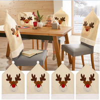 4pc Deer Hat Chair Covers Christmas Decor Dinner Chair Xmas Cap Sets Seat Support Cushion Christmas