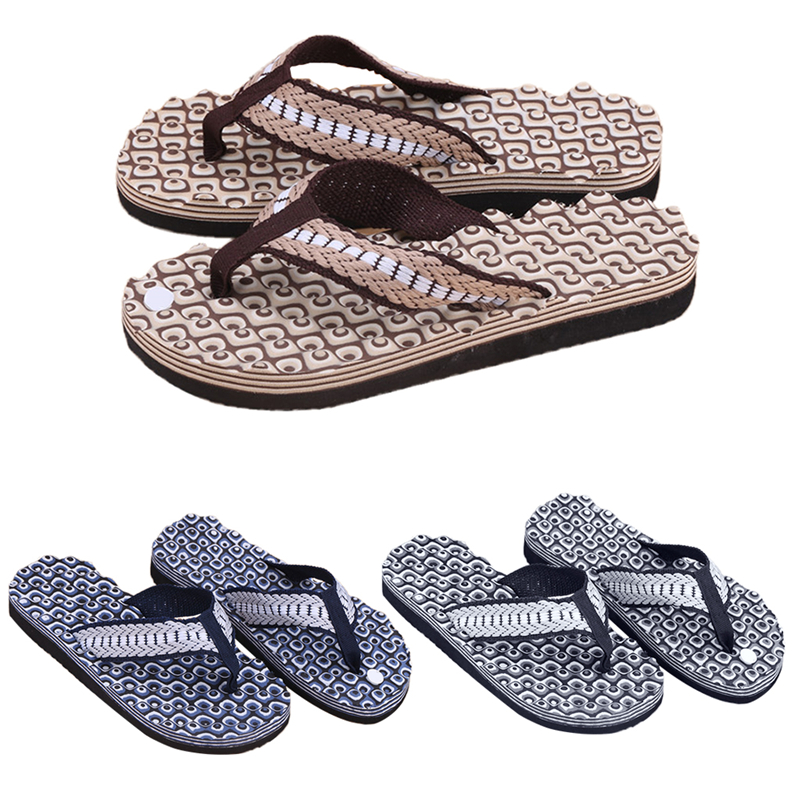 THINKTHENDONew 1Pair Summer Soft Casual Men Flat Wedge Sandals Thong Flip Flops Massage Slipper Beach free shipping 2016 summer diamond woman sandals casual flat thong flip flops fashion beads wild sandals white black st338
