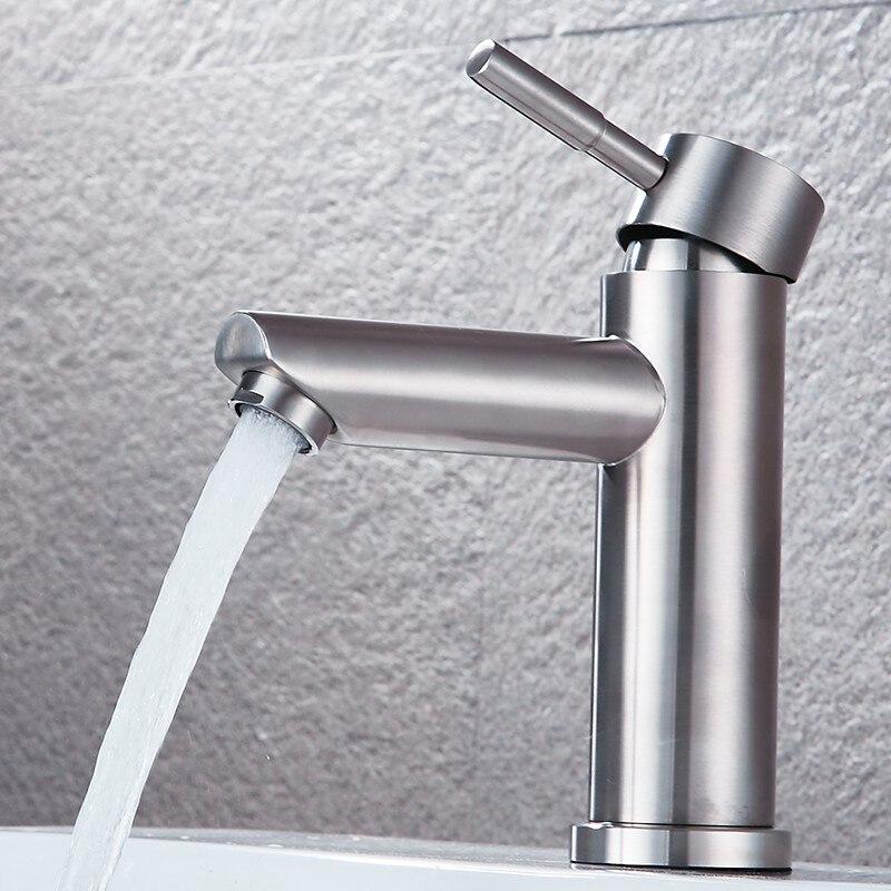 Torneira noir salle de bains Robinet Robinet 304 acier inoxydable kran vanity bassin Robinet grifo lavabo