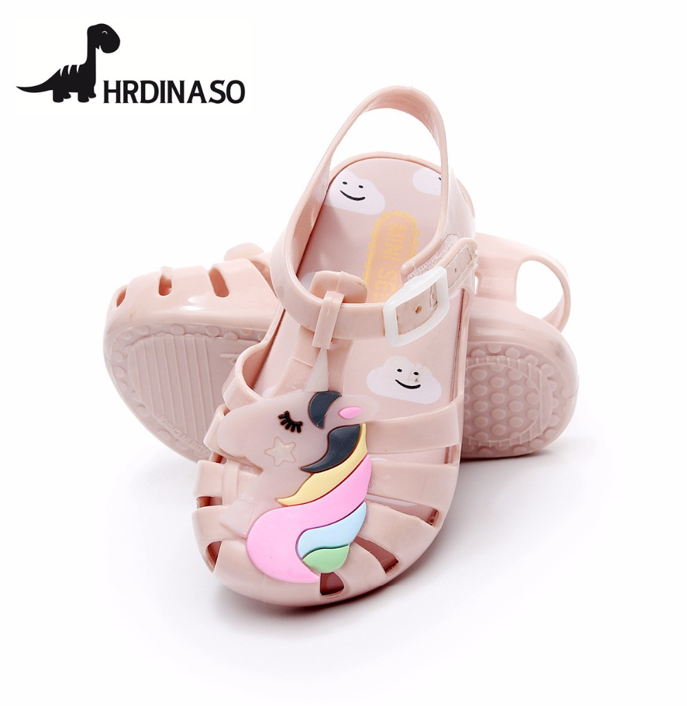 Mini Melissa Girls Sandals Unicorn Jelly Shoes Children Sandals Breathable Non-Slip High Quality Summer Jelly Shoes Melissa