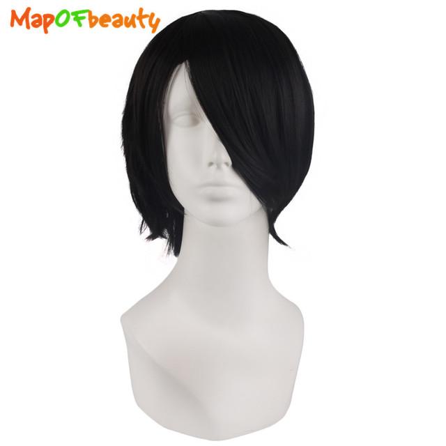 """MapofBeauty short curly 12"""" 14"""" Black White Cosplay Wigs Heat Resistant Mixed ombre wig Peruk Synthetic hair Fringe False Hair"""