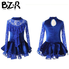 blue gauze long sleeve latin dance skirts christmas dancing wear girl lace latin skirt performing & competition latin dresses