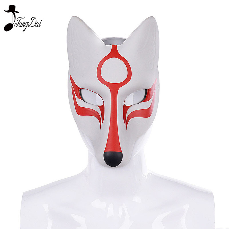 Carnival Masquerade Anime Cosplay Animal Pu Leather White Japanese Kitsune Fox Mask  halloween anime cosplay