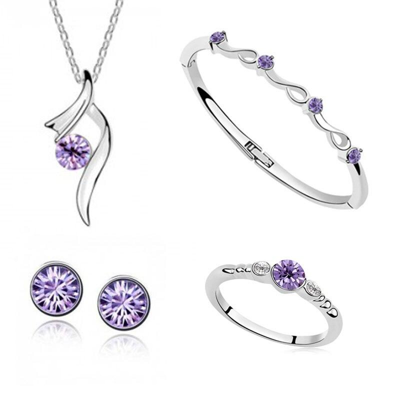 Fashion austrian crystal pendant Necklace Earring Bracelet Ring women Stars shining bride wedding Jewelry Sets