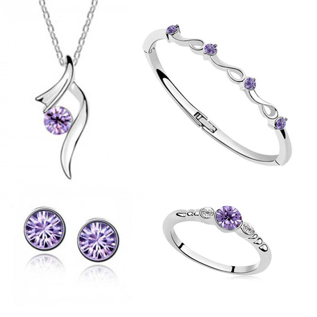Austrian Crystal Shining Necklace / Earring / Bracelet / Ring Jewelry Sets