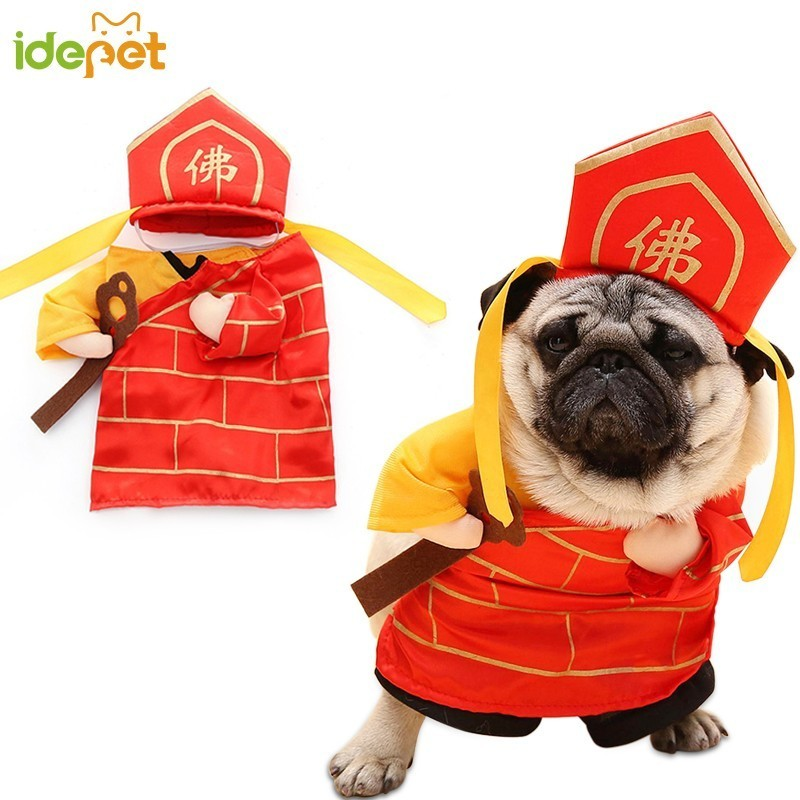 New Arrival Funny Dog Cat Buddha Costumes Tang Monk Cosplay Suit Pet Apparel Gifts Christmas Clothes For Puppy Cat Costume 30D1