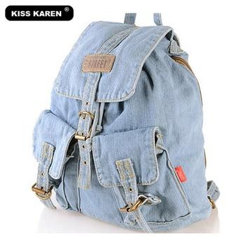 KISS KAREN Classic Cowboy Fashion Casual Daypacks Denim Backpack for teenage girls Retro Jeans Bag Travel Women Backpacks Сумка