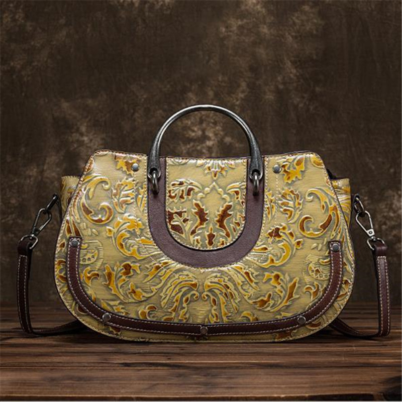 Ladies big bag fashion Vintage craft rub color women handbags cow leather new embossed diagonal female shoulder crossbody bags-in Shoulder Bags from Luggage & Bags    2