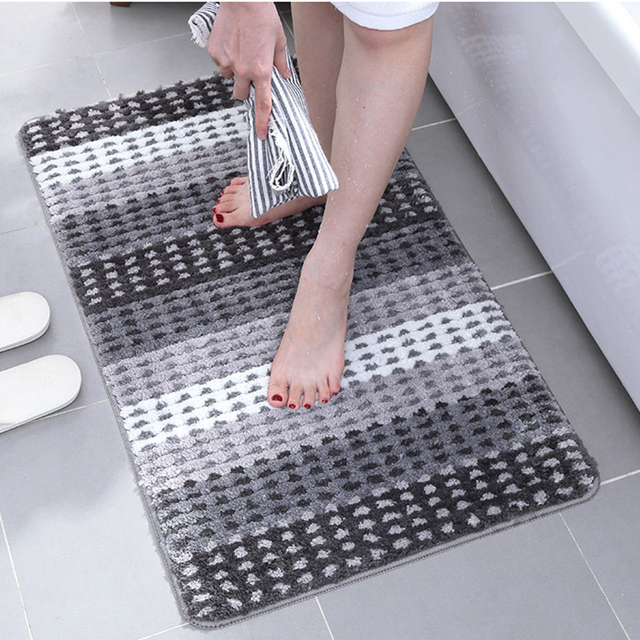 Bath Mat For Bathroom Toilet Bathtub Wash Basin Rug Non Slip Absorbent Microfiber