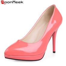MoonMeek 8 colors 2018 new arrive high quality sexy women pumps high heels platform shoes woman pointed toe prom wedding shoes