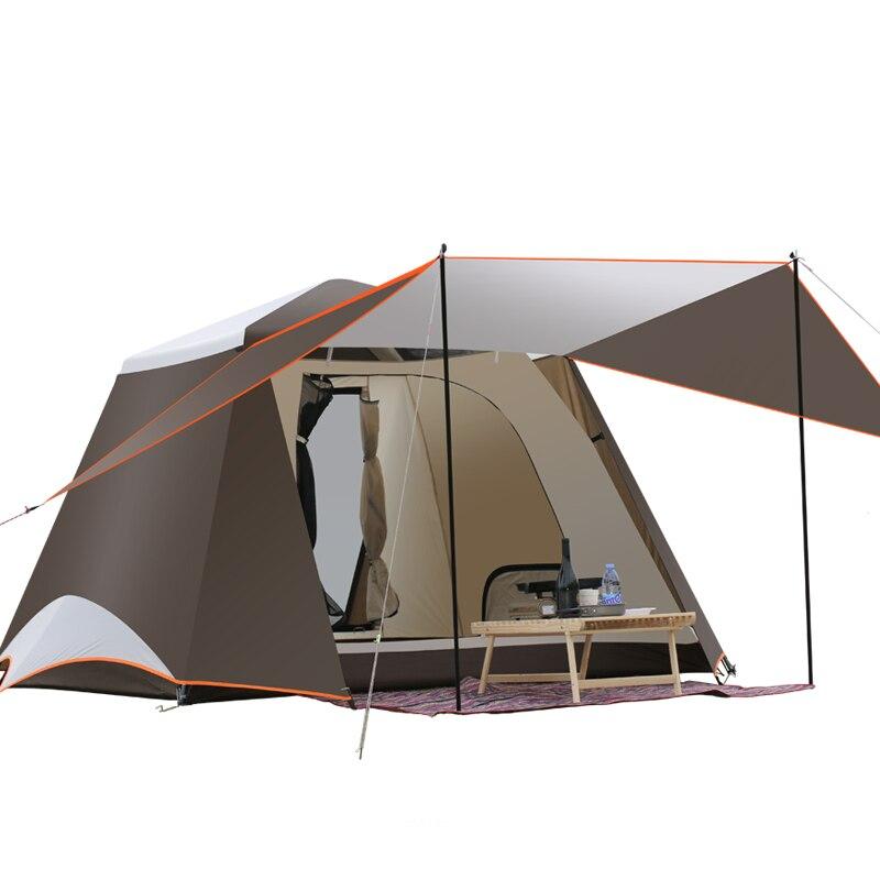 Mise à niveau nouvelle livraison construire 2 portes 3-4 personnes entièrement automatique tente automatique de camping tente familiale en bon qualité famille voyage tente