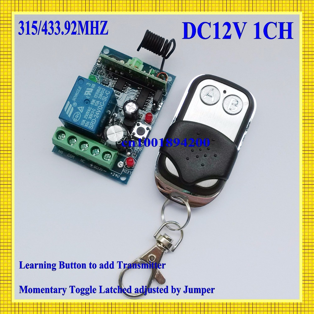 Rf Rc Remote Control Switch 12v 1 Ch 10a Relay Receiver Circuit Board Garage Door 315 433mhz Transmitter Wireless Light Power Universal Openner For Sale