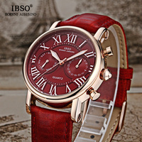 IBSO Brand Quartz Women Watches 2018 Genuine Leather Strap Fashion Watch Women Calendar Multifunction Display Montre Femme