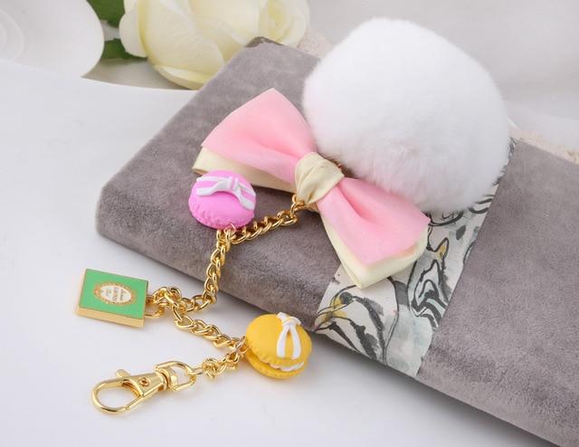 White Soft Rabbit Fur Ball Plush Pompom Keychain For Car Women Handbag Key Ring Chain Pendant Jewelry Cake