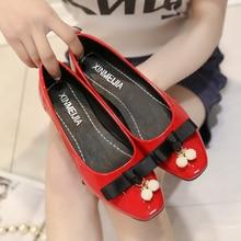Femmes pu cuir casual bureau appartements dame rouge printemps été glissement sur des chaussures plates zapatos mignon femelle loisirs arc cravate chaussures