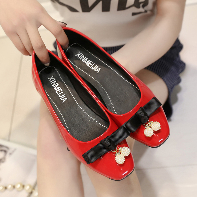 Women pu leather casual office flats lady red spring summer slip on flat shoes zapatos cute female leisure bow tie shoes