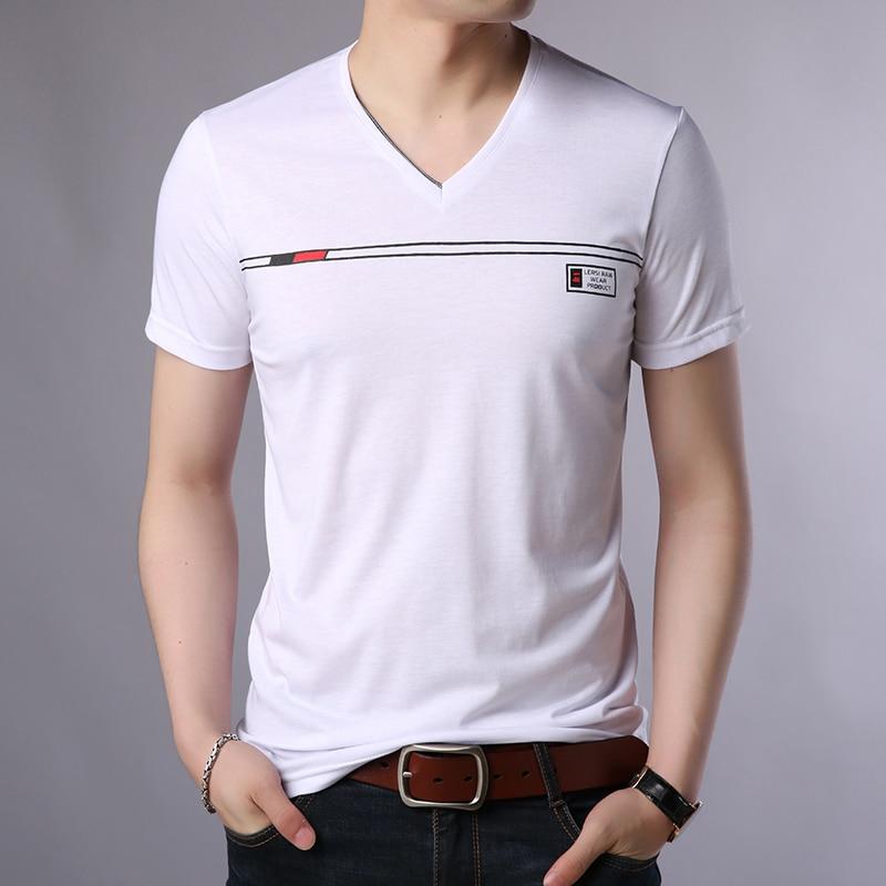Liseaven T Shirt Casual Short Sleeve V-Neck T-Shirt Men Cotton Top Tees Summer Fashion Brand Clothes