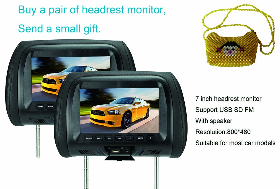 Factory direct sales New product 7 inch monitor 7 inch car Headrest TFT-LED monitor Headrest LED  color monitor AV USB SD MP5 FM
