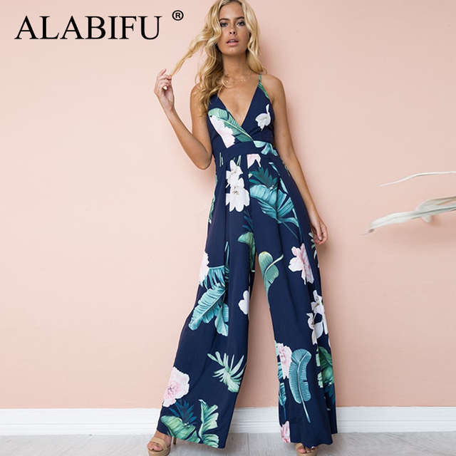ALABIFU Elegant Sexy Backless Maxi Party Jumpsuit Summer 2019 Casual Floral Print Jumpsuit Women Bohemian Beach Jumpsuit Romper
