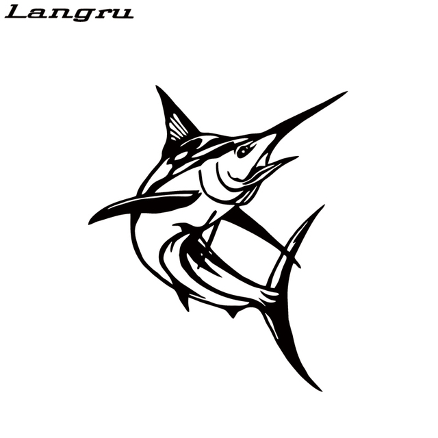 Langru personality cool graphics marlin fish fishing car window vinyl decal funny sticker decorative jdm